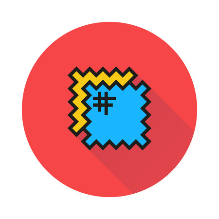 sew tags: patch icon on round background Created For Mobile, Infographics, Web, Decor, Print Products, Applications. Icon isolated. Illustration