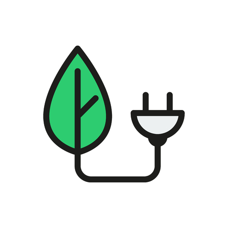 eco power: eco power icon on white background Created For Mobile, Web, Decor, Print Products, Applications. Icon isolated.