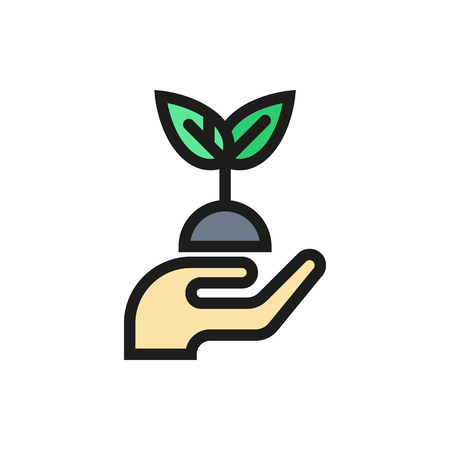 hands holding plant: hands holding plant icon on white background Created For Mobile, Web, Decor, Print Products, Applications. Icon isolated.