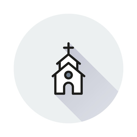 chapel: Cute Church or Chapel on round background Created For Mobile, Web, Decor, Print Products, Applications. Icon isolated. Illustration