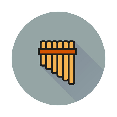 panpipe: Pan flute icon on round background Created For Mobile, Web, Decor, Print Products, Applications. Icon isolated.