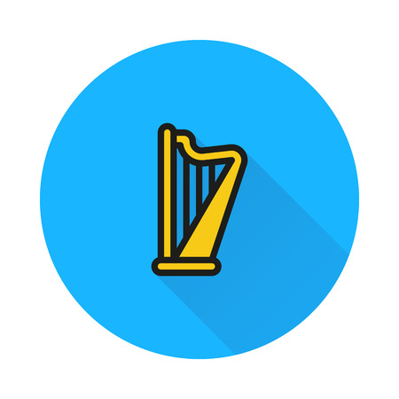 harp on round background Created For Mobile, Web, Decor, Print Products, Applications. Icon isolated.
