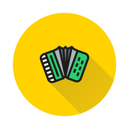 concertina: Accordion icon on round background Created For Mobile, Web, Decor, Print Products, Applications. Icon isolated.