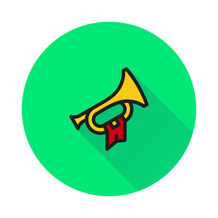 bugle: Bugle Hunting Horn on round background Created For Mobile, Web, Decor, Print Products, Applications. Icon isolated.