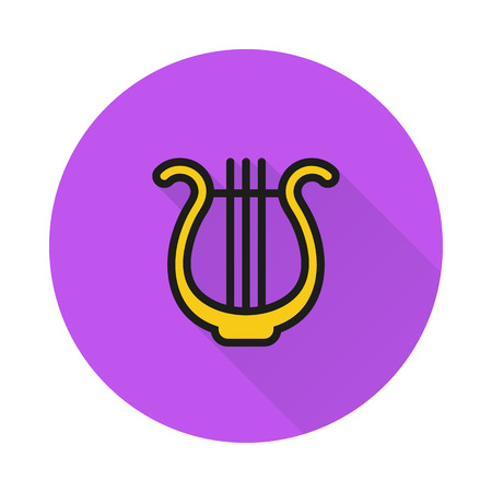 Lyre icon simple on round background Created For Mobile, Web, Decor, Print Products, Applications. Icon isolated.