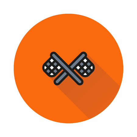 racing checkered flag crossed: racing flag icon on round background Created For Mobile, Web, Decor, Print Products, Applications. Icon isolated.