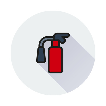 flammable warning: fire extinguisher Icon on round background Created For Mobile, Web, Decor, Print Products, Applications. Icon isolated.