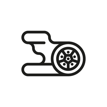 Automotive wheel and tire with flames. Vector icons for video, mobile apps, Web sites and print projects.
