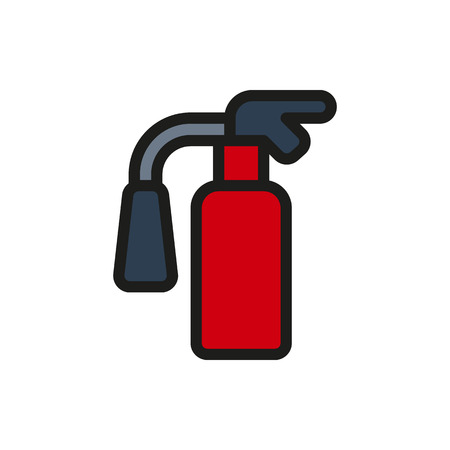 flammable warning: fire extinguisher Icon on white background Created For Mobile, Web, Decor, Print Products, Applications. Icon isolated.
