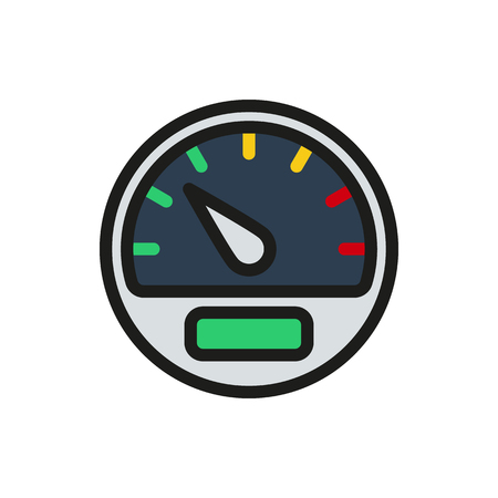 mile: speedometer Icon on white background Created For Mobile, Web, Decor, Print Products, Applications. Icon isolated.