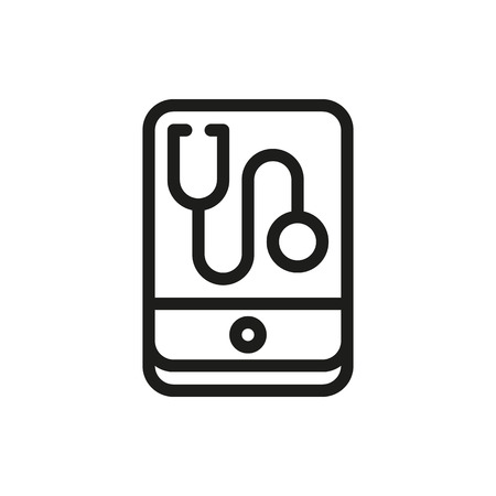 diagnose: Cell phone app with a stethoscope isolated on white background Created For Mobile, Web, Decor, Print Products, Applications.