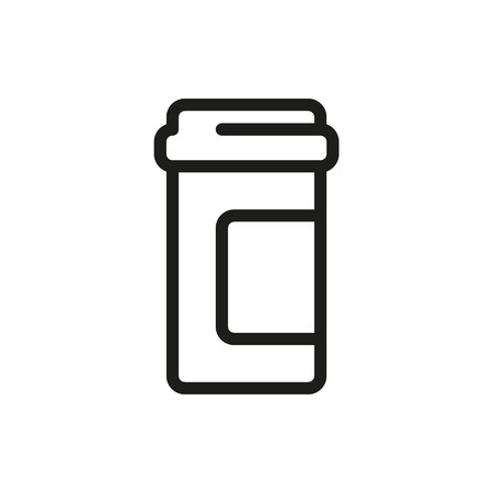 pill bottle: Pill bottle icon isolated on white background Created For Mobile, Web, Decor, Print Products, Applications.