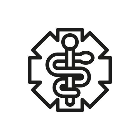 esculapio: S�mbolo Medicina de Emergencia aislado en el fondo blanco Creado para m�viles, Web, decoraci�n, impresi�n Productos, Aplicaciones.