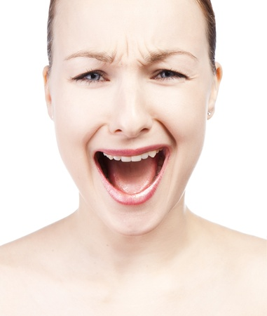 Portrait of screaming woman photo