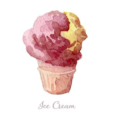 waffle cone: Strawberry ice cream in a waffle cone. Watercolor illustration, vector.