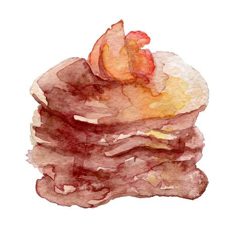 maple syrup: Acuarela Panqueques con frutas y jarabe de arce, eps10