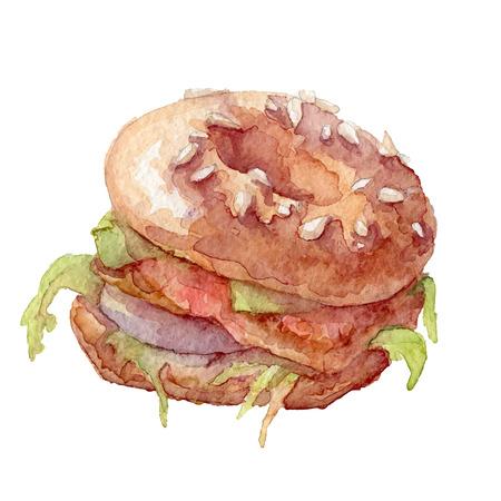 Watercolor bagel vector art