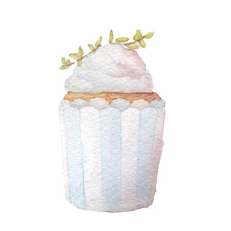 birthday cakes: Watercolor cupcake vector art,