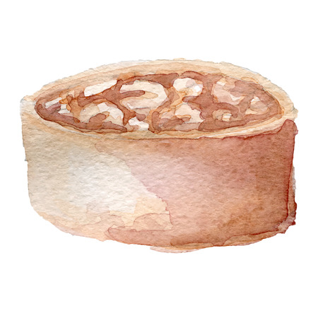tarta: akwarela tarta z orzechami i karmelem grafikę wektorową,