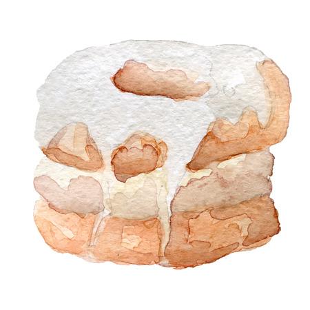 watercolor cronut croissant and doughnut mixture, vector art
