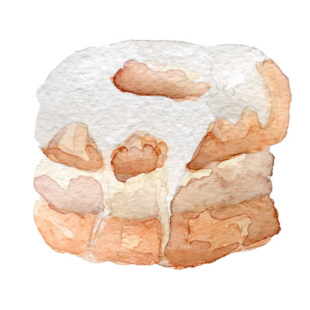mixture: watercolor cronut croissant and doughnut mixture, vector art