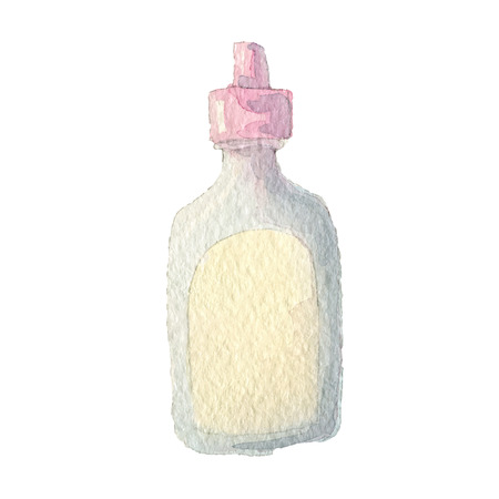 calculus: Vector hand painting watercolor illustration of  bottle. Eps10