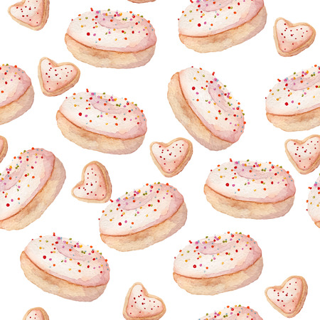 sprinkling: watercolor donut seamless sweets pattern eps10 Illustration