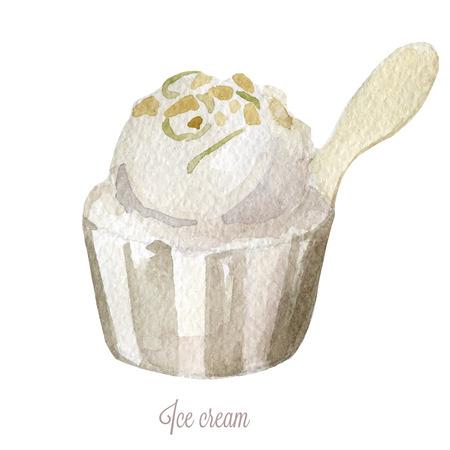 vector watercolor ice cream