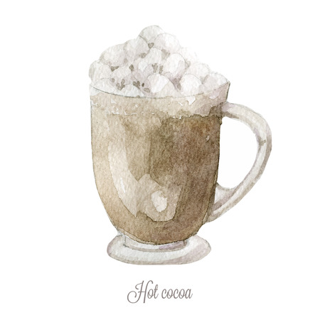 cacao: Hand drawn hot cacao. Watercolor vector illustration