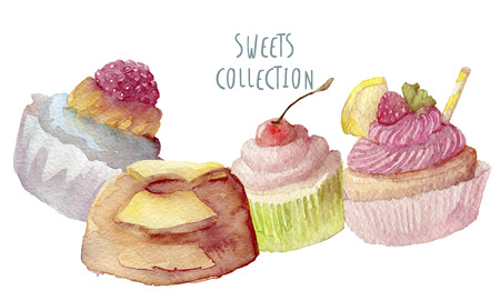 blueberry pie: Watercolor cupcakes hand drawn on white