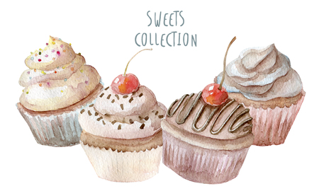 eclair: Watercolor cupcakes hand drawn on white