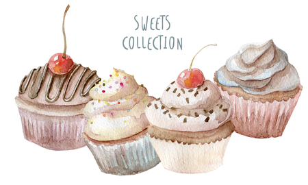 Watercolor cupcakes hand drawn on white