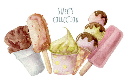 creams: Watercolor ice creams hand drawn background isolated Stock Photo