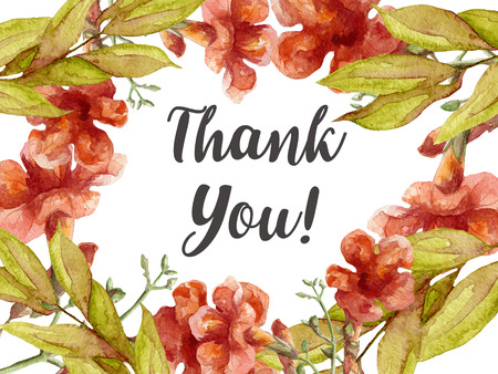 thank you card with watercolor flowers