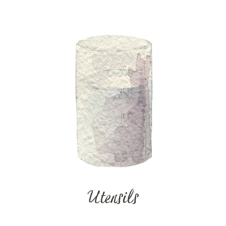 glass, glass jar, container watercolor illustration on white Kitchen Utensils series Imagens