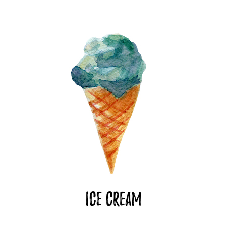 sherbet: ice cream illustration. Hand drawn watercolor on white background. Stock Photo