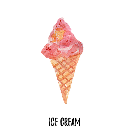 licking: ice cream illustration. Hand drawn watercolor on white background. Stock Photo