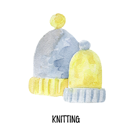 knitting illustration. Hand drawn watercolor on white background. Stock Photo