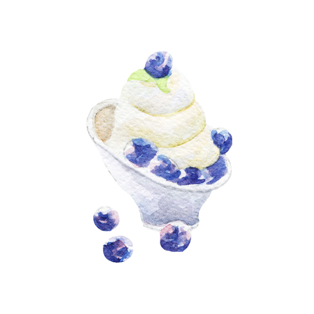 cupcakes isolated: fresh yogurt illustration. Hand drawn watercolor on white background.