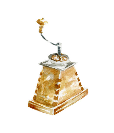 coffee grinder illustration. Hand drawn watercolor on white background.