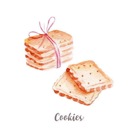 hotcakes: cookies illustration. Hand drawn watercolor on white background.