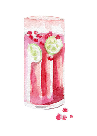 fresh drink illustration. Hand drawn watercolor on white background Stock Photo