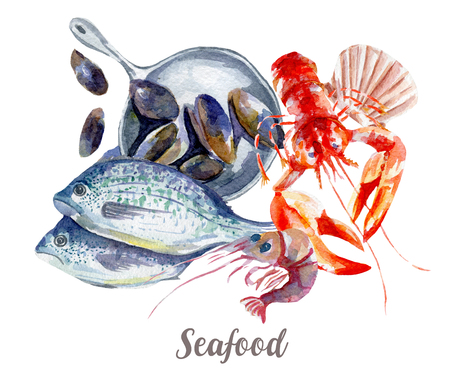 Seafood illustration. Hand drawn watercolor on white background. Reklamní fotografie