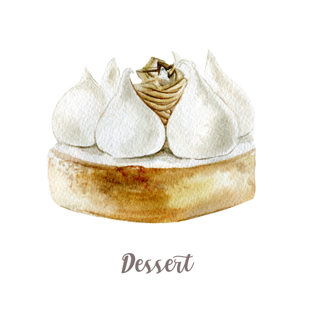 Watercolor hand drawn cake. Isolated dessert illustration on white background