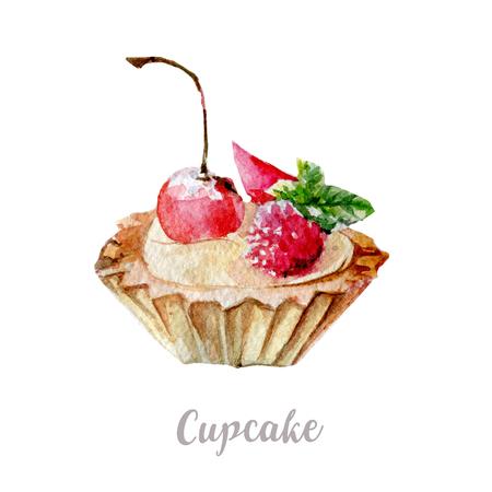 birthday celebration: Watercolor hand drawn cake. Isolated dessert illustration on white background