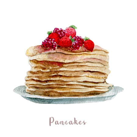Watercolor hand drawn pancakes. Isolated dessert illustration on white background Stock Photo
