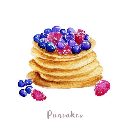 水彩の手描きのパンケーキ。白い背景の上の隔離されたデザート図