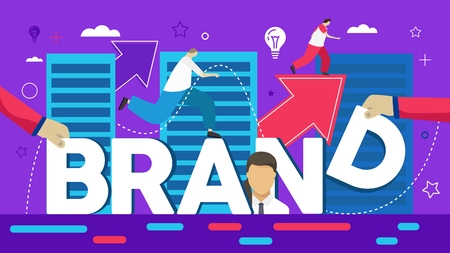 Vector creative illustration of business brand word lettering typography