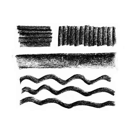Black highlight stripes, banners drawn with chalk, graphite pencil. Stylish highlight elements for design.