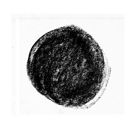 Black wax crayon strokes isolated on white. Hand drawn pastel chalk circle stripes background.  kids hand painting texture design element. Banco de Imagens